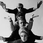 Andy, Chuck Wein, Gerard Malanga, and Edie Sedgwick as a composite Pop creature at David McCabe's studio, NYC, spring 1965