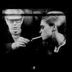 Andy and Edie Sedgwick on the Norelco monitor at The Scene nightclub, NYC, spring 1965