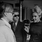 Andy, Gerard Malanga and Edie Sedgwick at David McCabe's studio on 37th St., NYC, spring 1965