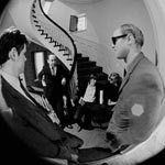 David Dalton, Ivan Karp, Chuck Wein, Andy and James Rosenquist at Leo Castelli Gallery, NYC, April 17th, 1965