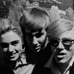 Edie Sedgwick, Chuck Wein, and Andy at a party at the Empire State Building, NYC, spring 1965